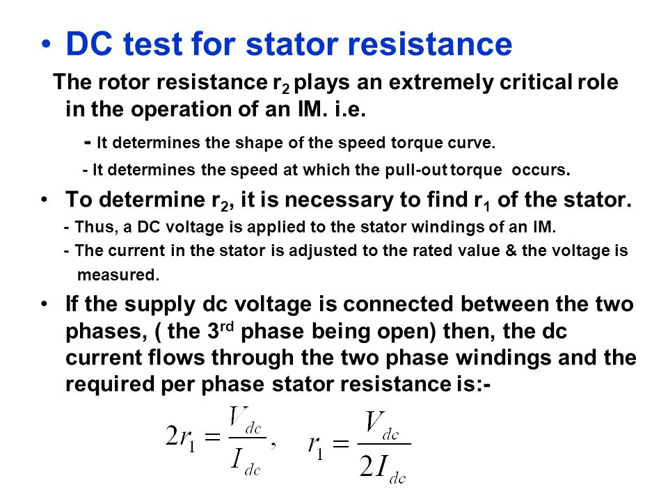 DC test for stator resistance