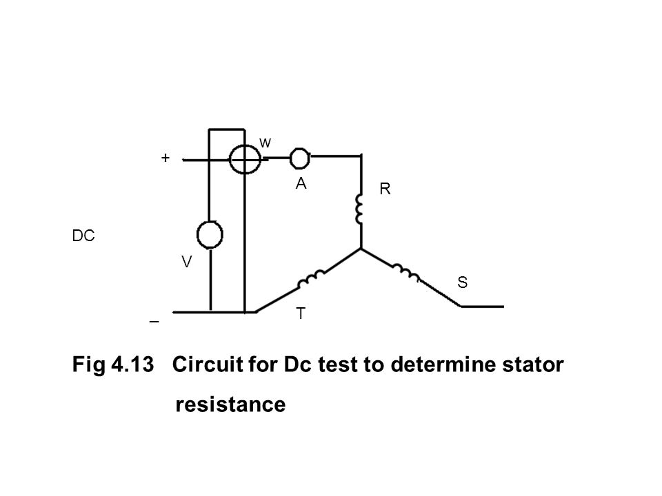 Fig 4.13 Circuit for Dc test to determine stator resistance
