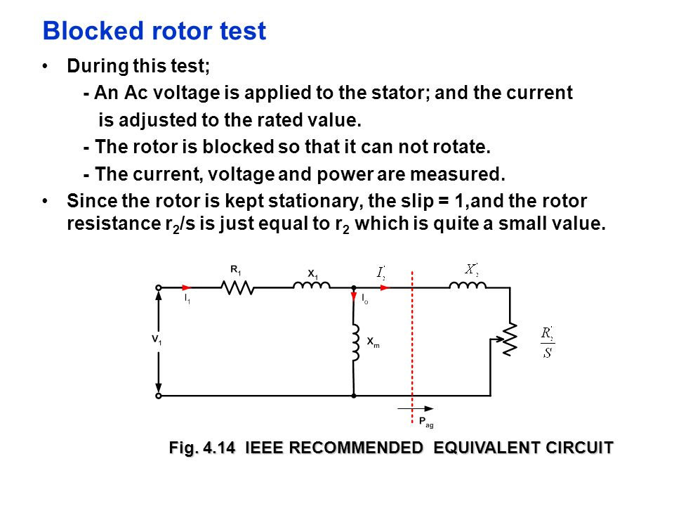 Blocked rotor test During this test;