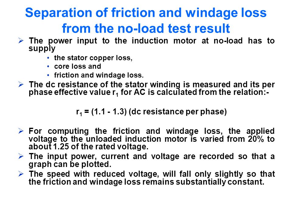 Separation of friction and windage loss from the no-load test result