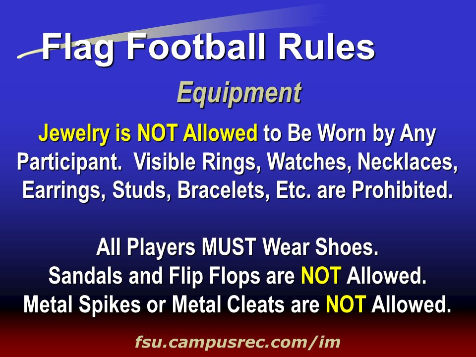 Flag Football Rules Equipment