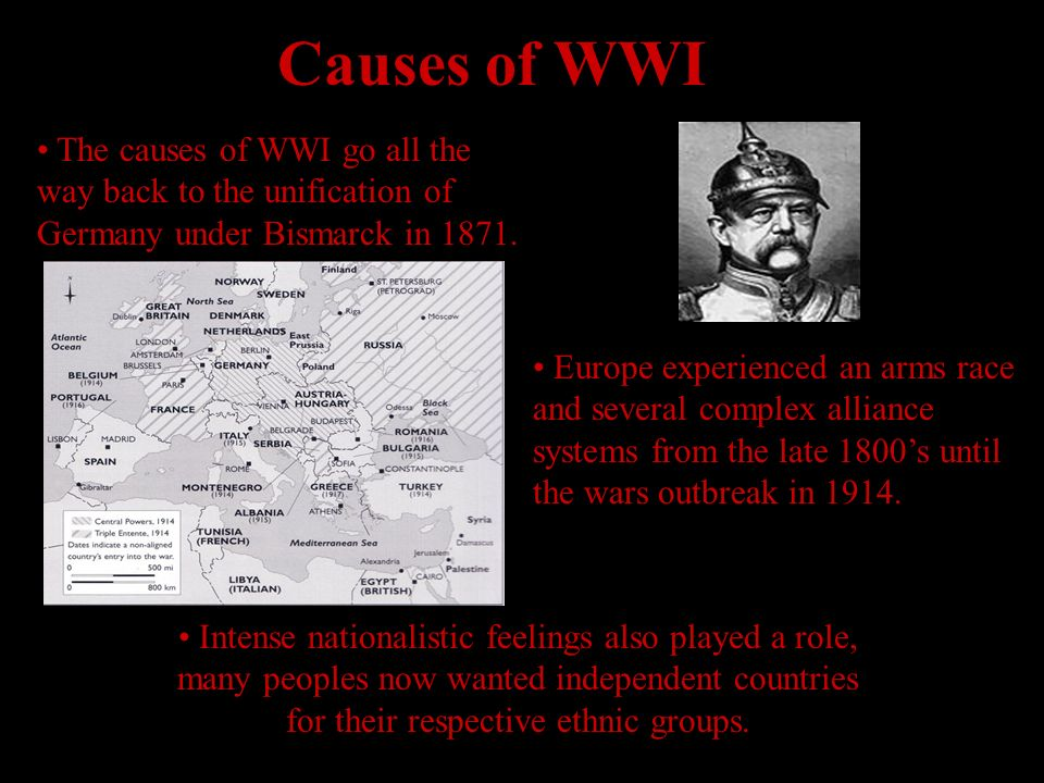 Causes of WWI The causes of WWI go all the way back to the unification of Germany under Bismarck in 1871.