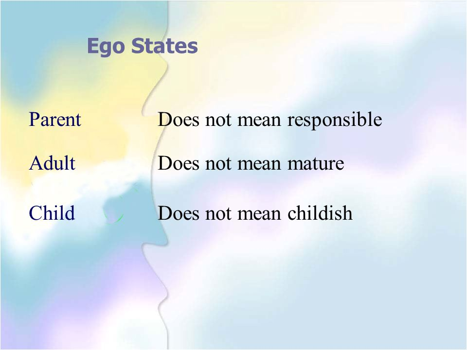Ego States Parent Does not mean responsible Adult Does not mean mature Child Does not mean childish
