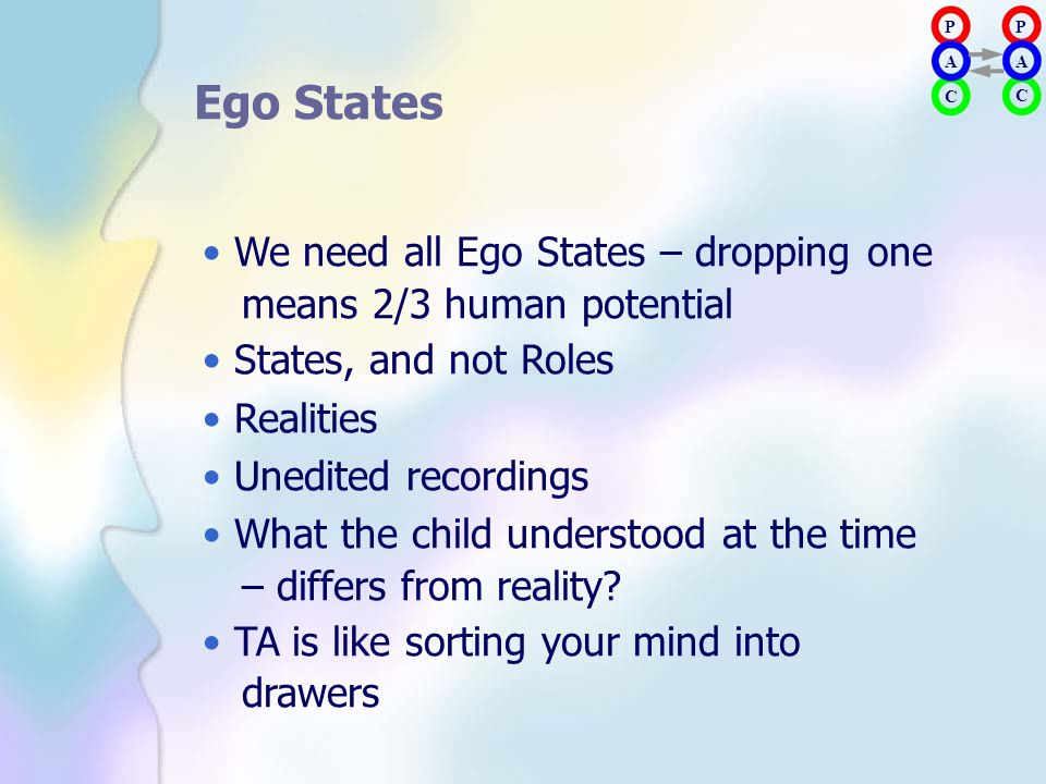• We need all Ego States – dropping one