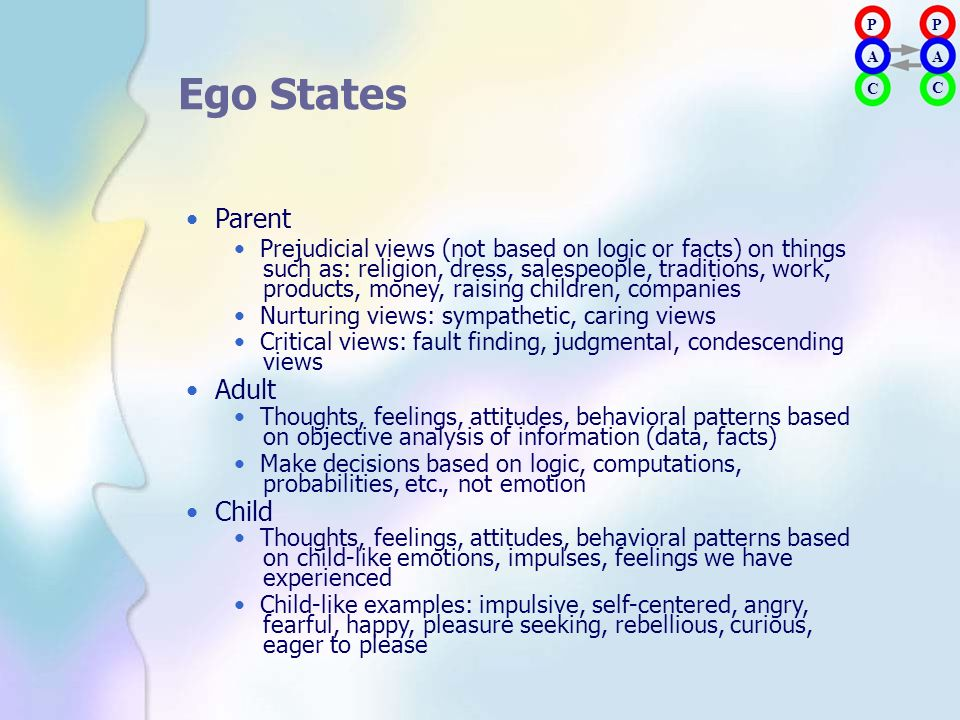 P A. P. A. Ego States. • Parent. • Prejudicial views (not based on logic or facts) on things.