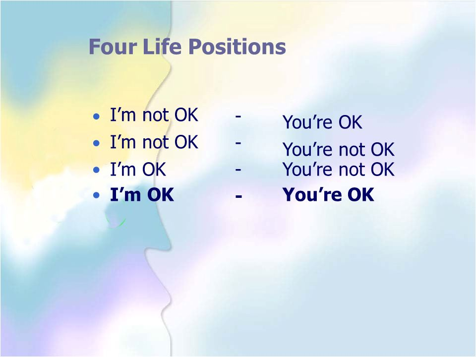 Four Life Positions I'm not OK You're OK You're not OK • - • - •