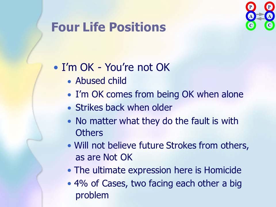 Four Life Positions • I'm OK - You're not OK Abused child