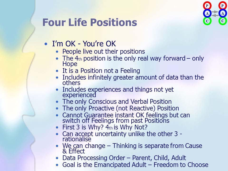 Four Life Positions • I'm OK - You're OK