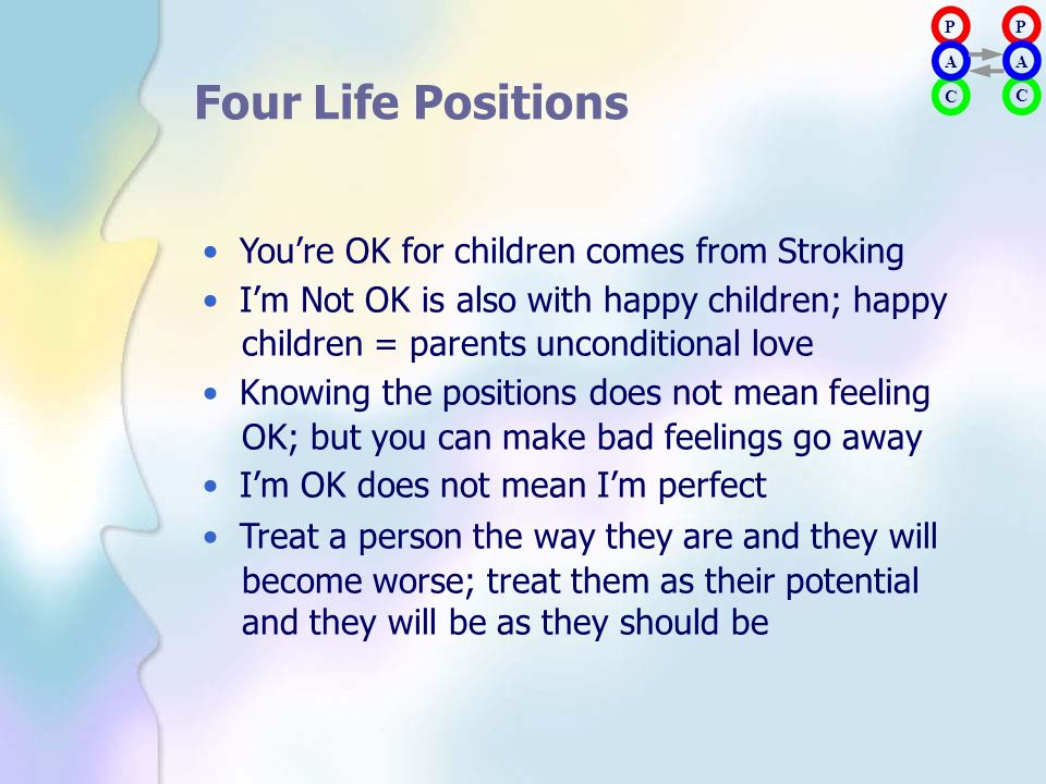 Four Life Positions • You're OK for children comes from Stroking