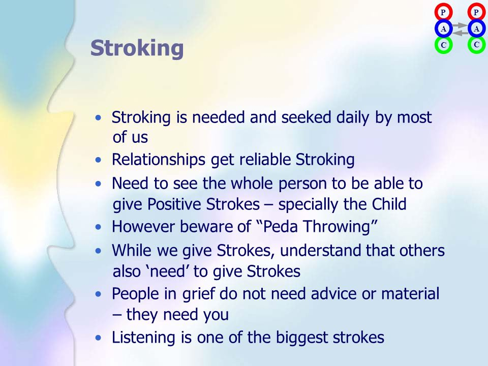 Stroking • Stroking is needed and seeked daily by most of us