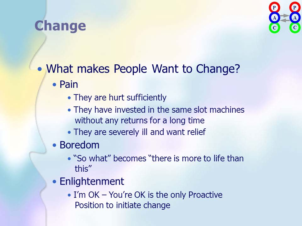 • What makes People Want to Change