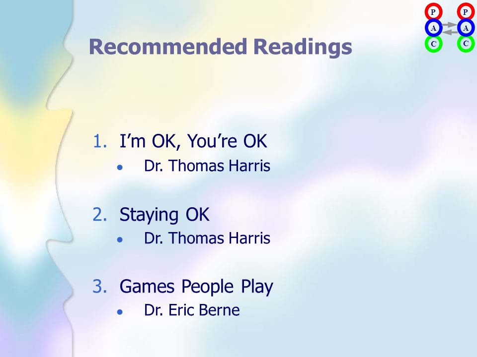 Recommended Readings 1. I'm OK, You're OK Dr. Thomas Harris