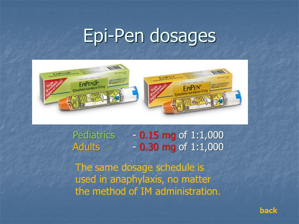 Epi-Pen dosages Pediatrics - 0.15 mg of 1:1,000