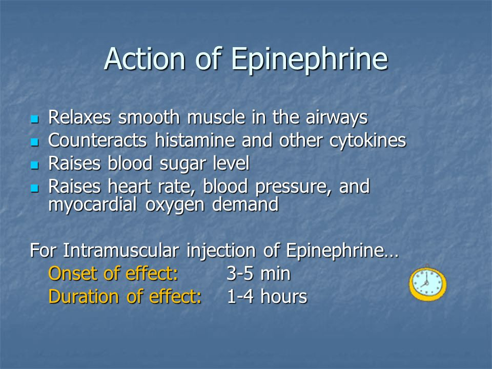 Action of Epinephrine Relaxes smooth muscle in the airways