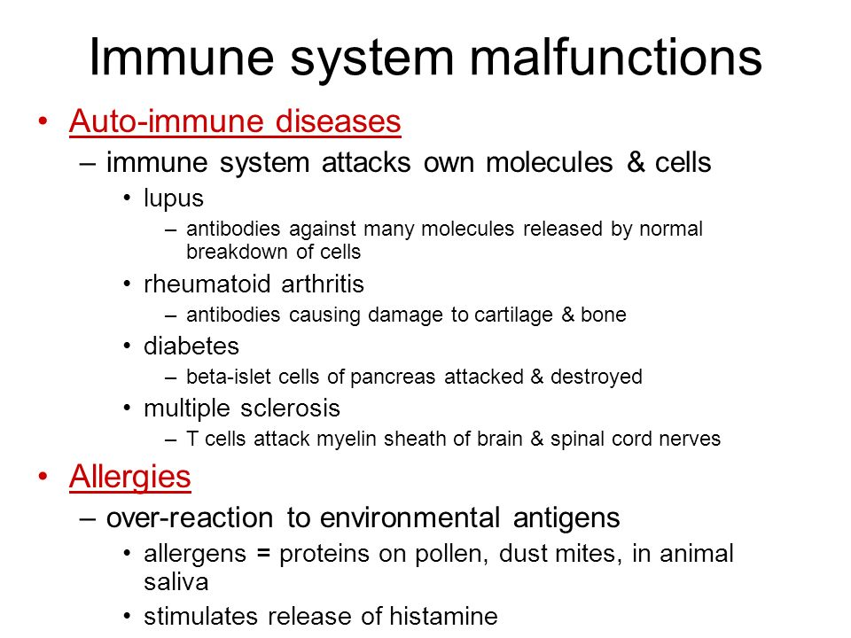 Immune system malfunctions