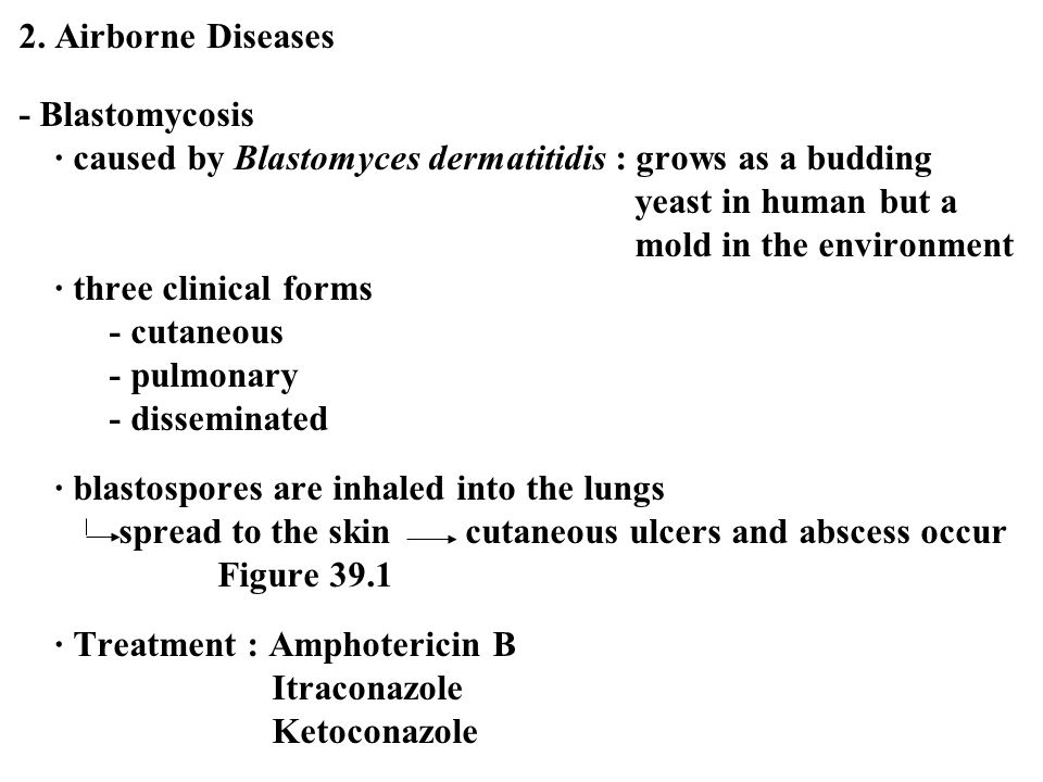 2. Airborne Diseases - Blastomycosis. ∙ caused by Blastomyces dermatitidis : grows as a budding. yeast in human but a.