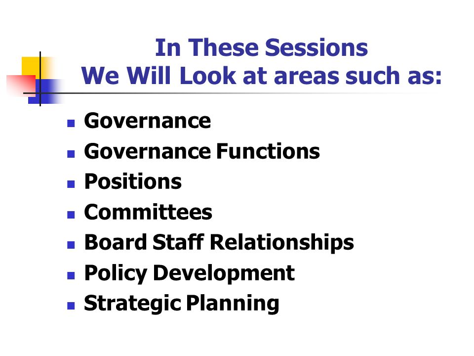 In These Sessions We Will Look at areas such as: