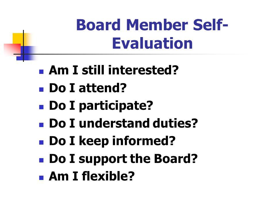 Board Member Self-Evaluation