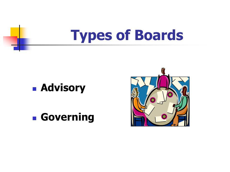 Types of Boards Advisory Governing