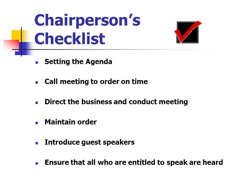 Chairperson's Checklist