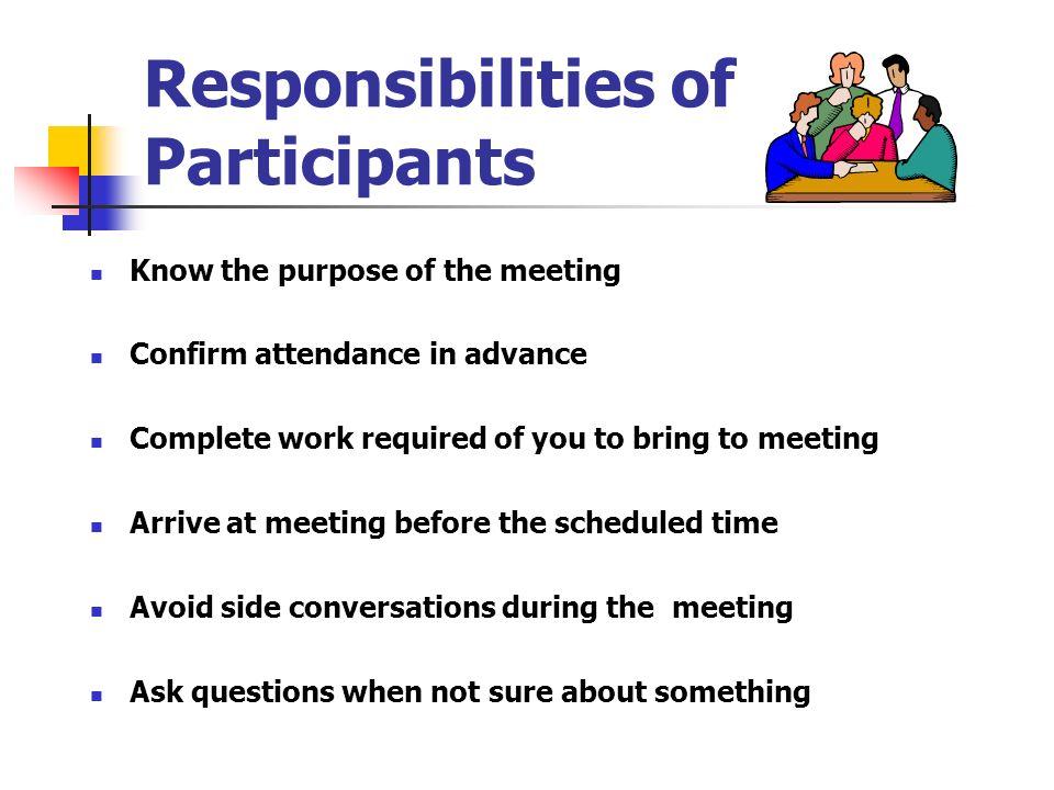 Responsibilities of Participants
