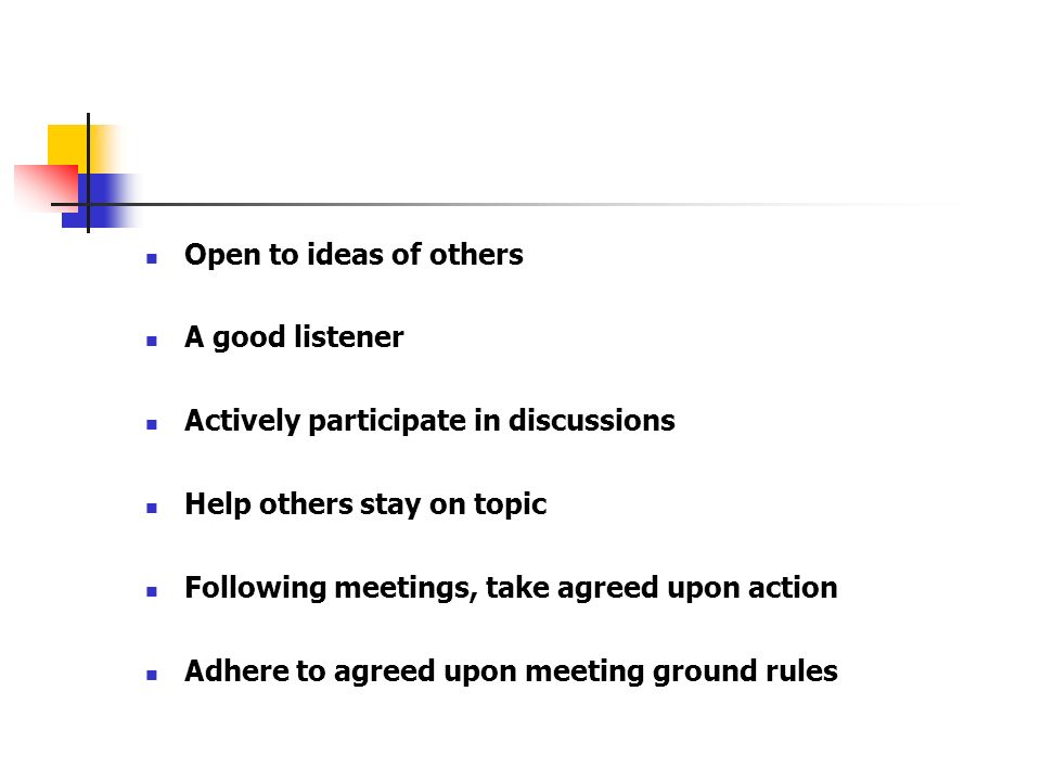 Open to ideas of othersA good listener. Actively participate in discussions. Help others stay on topic.