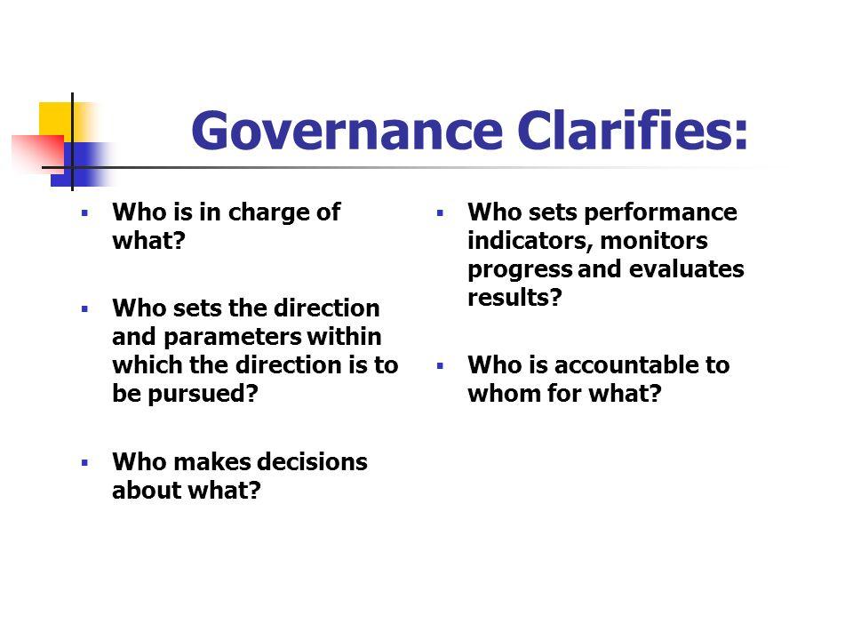 Governance Clarifies: