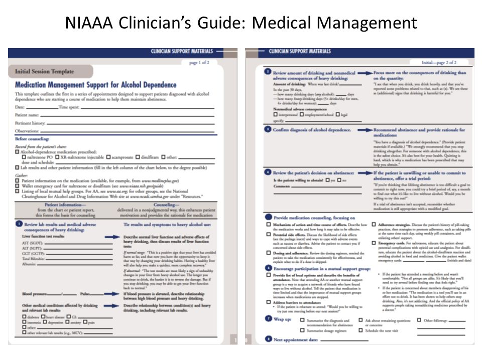 NIAAA Clinician's Guide: Medical Management