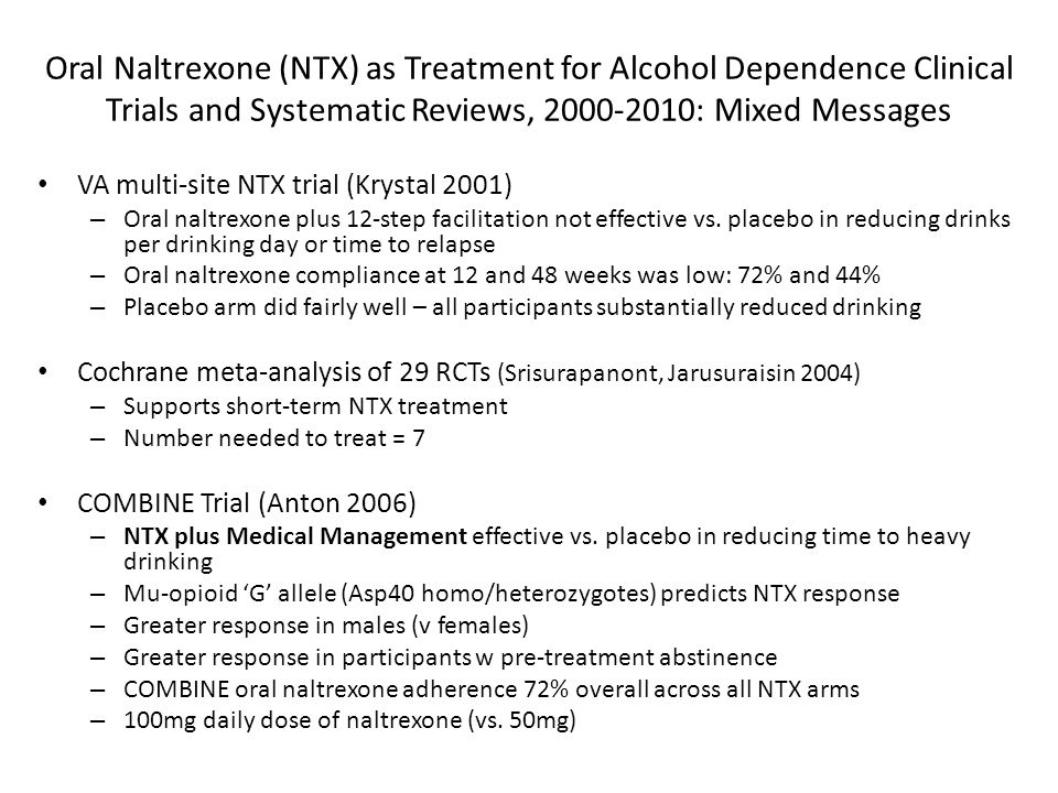 Oral Naltrexone (NTX) as Treatment for Alcohol Dependence Clinical Trials and Systematic Reviews, 2000-2010: Mixed Messages