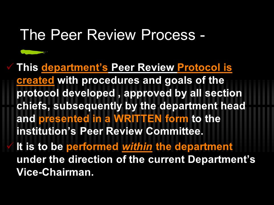 The Peer Review Process -