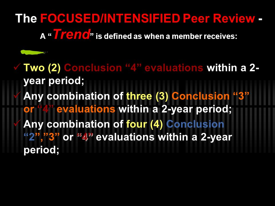 The FOCUSED/INTENSIFIED Peer Review - A Trend is defined as when a member receives: