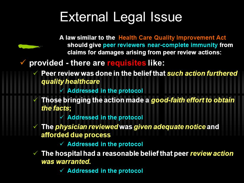 External Legal Issue provided - there are requisites like: