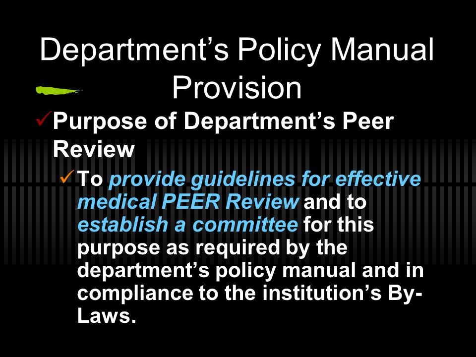 Department's Policy Manual Provision