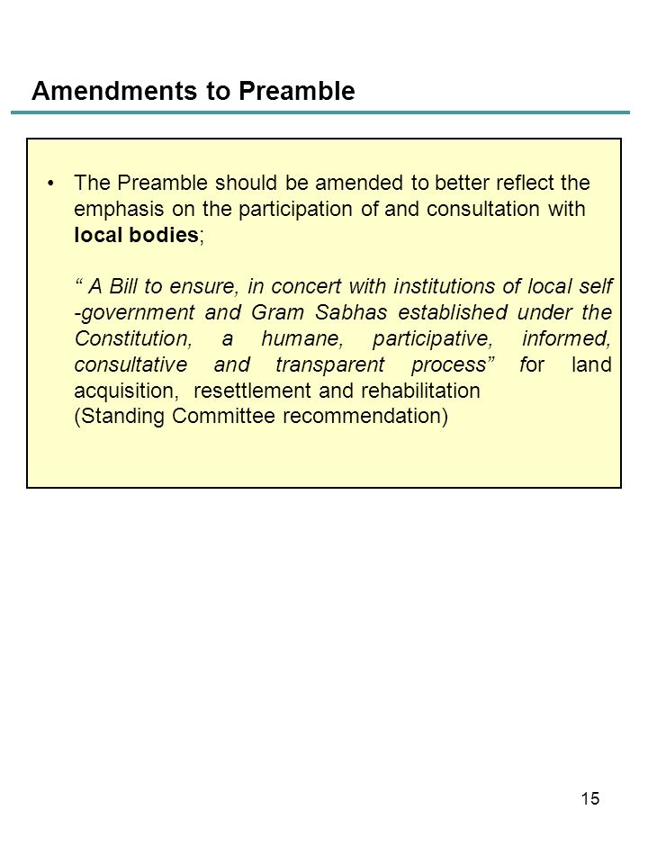 Amendments to Preamble