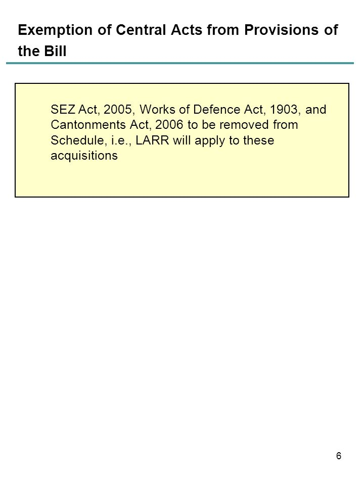 Exemption of Central Acts from Provisions of the Bill