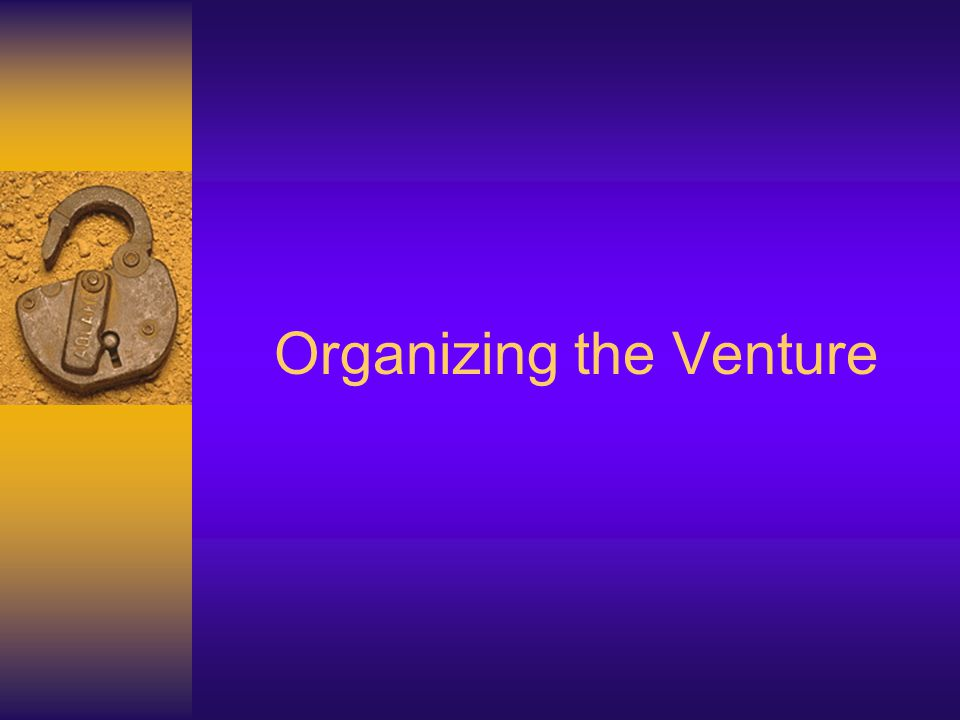 Organizing the Venture