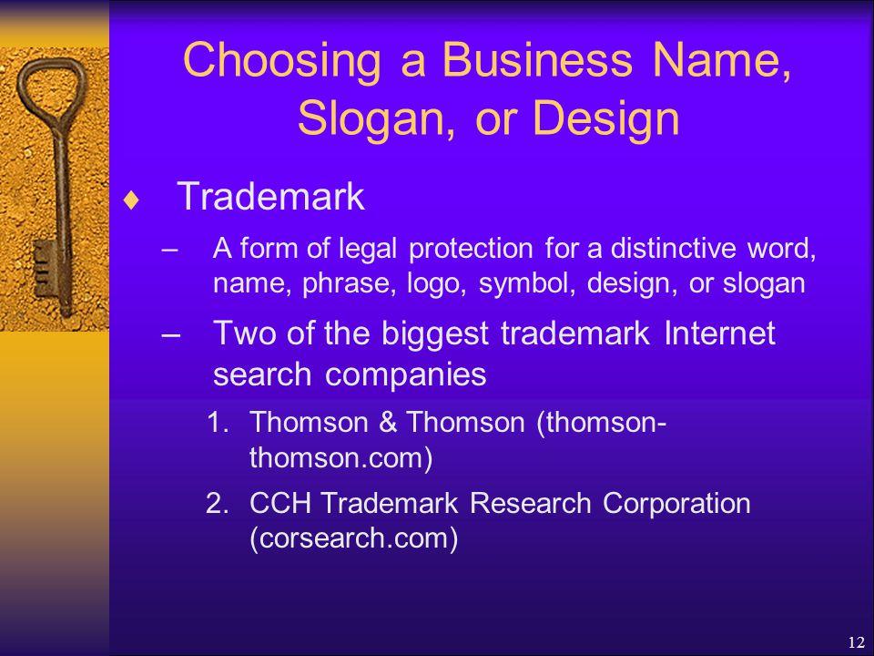 Choosing a Business Name, Slogan, or Design
