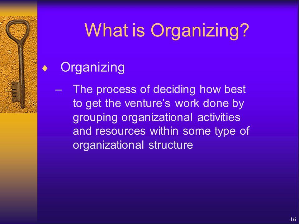 What is Organizing Organizing