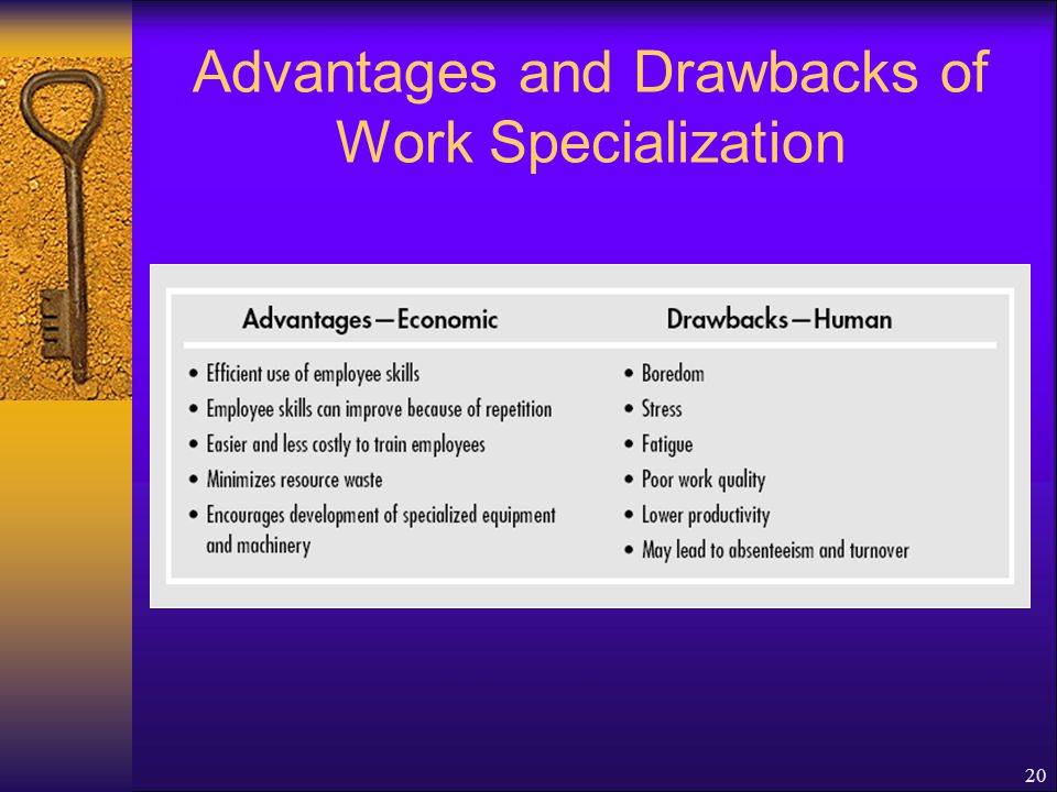 Advantages and Drawbacks of Work Specialization