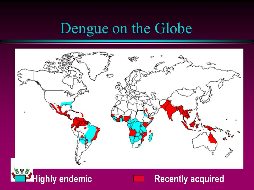 Dengue on the Globe Highly endemic Recently acquired