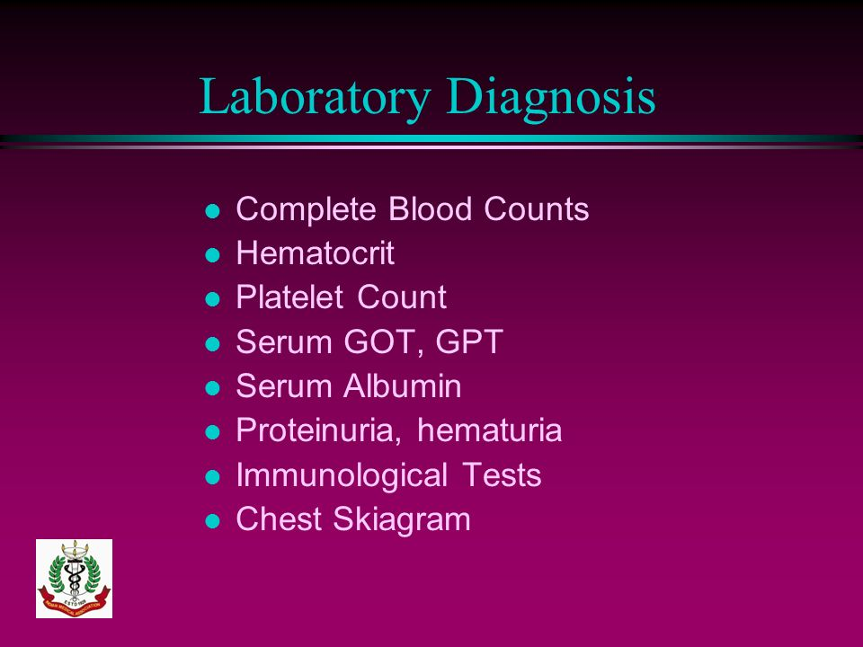 Laboratory Diagnosis Complete Blood Counts Hematocrit Platelet Count