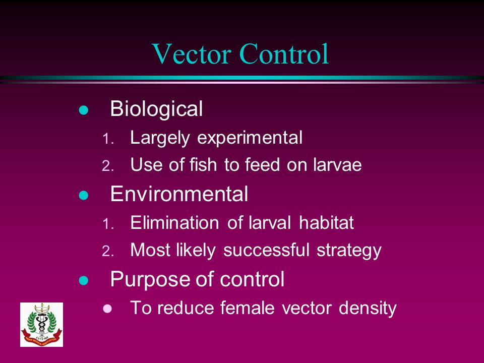 Vector Control Biological Environmental Purpose of control