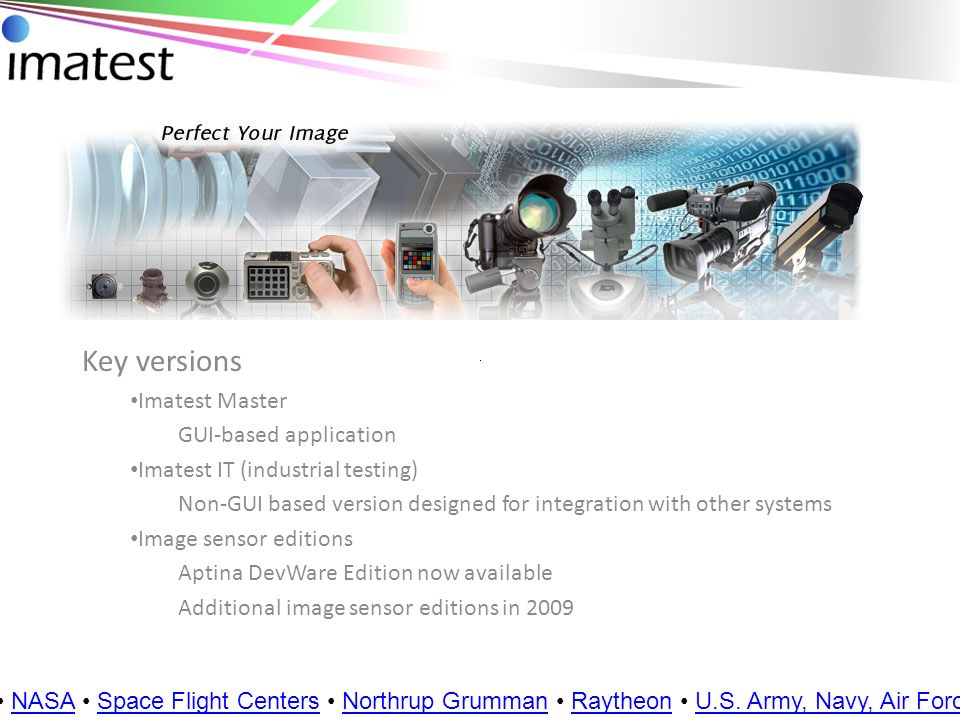 Key versions Imatest Master GUI-based application