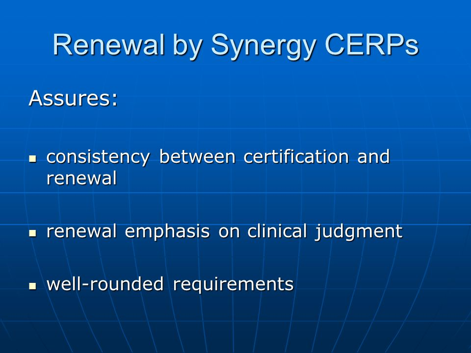 Renewal by Synergy CERPs