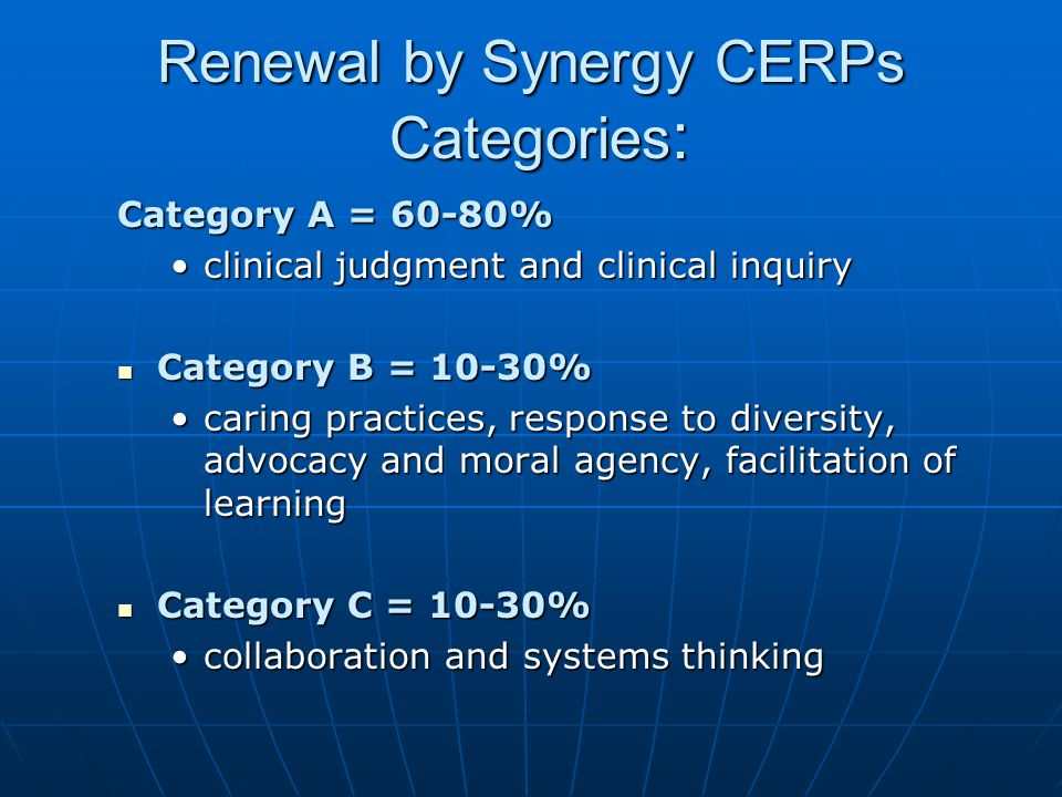 Renewal by Synergy CERPs Categories: