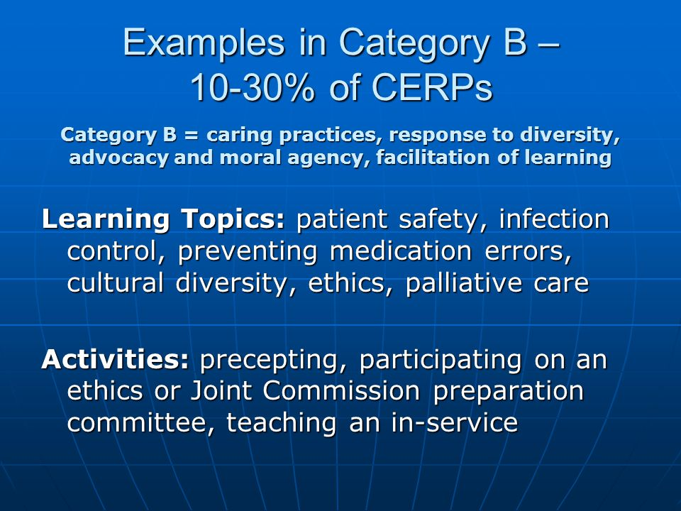Examples in Category B – 10-30% of CERPs