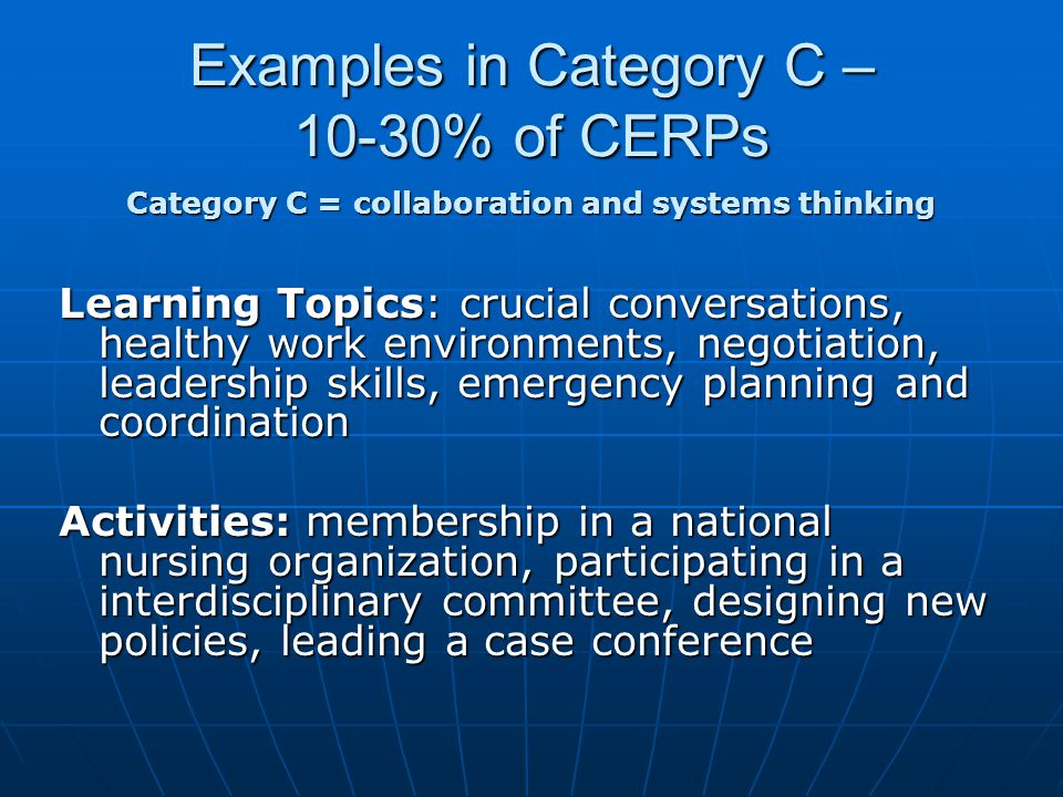 Examples in Category C – 10-30% of CERPs