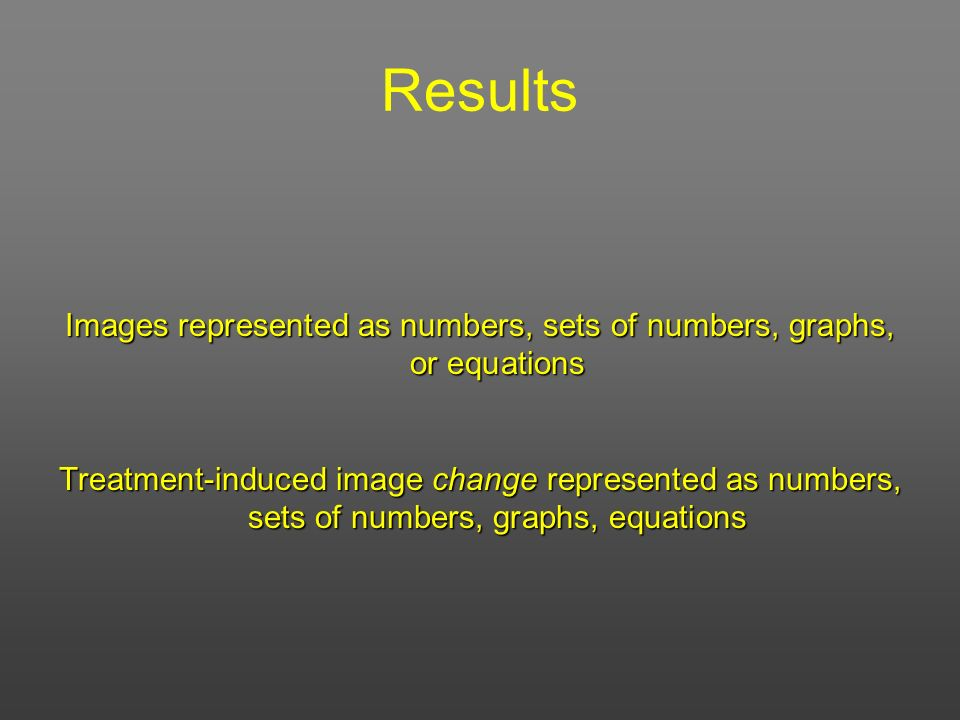 Images represented as numbers, sets of numbers, graphs, or equations
