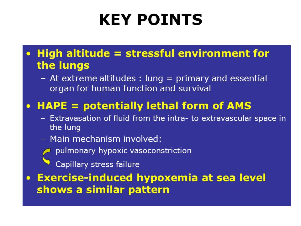 KEY POINTS High altitude = stressful environment for the lungs