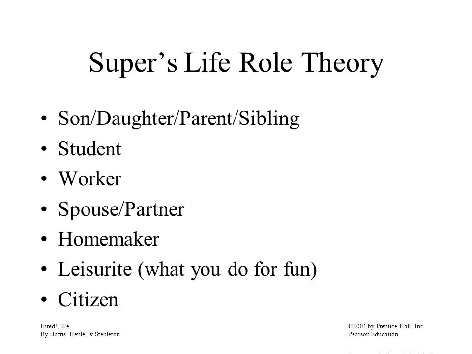 Super's Life Role Theory